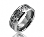 Bling Jewelry Celtic Dragon Comfort Fit Black Inlay Tungsten Men's Ring