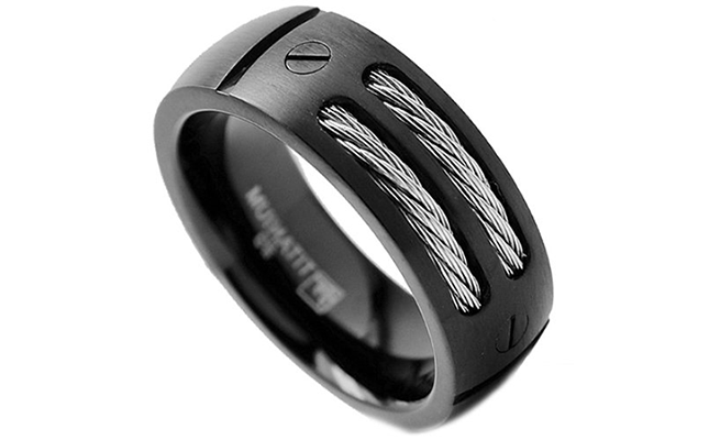 Men's Black Titanium Ring with Stainless Steel Cables and Screw Design