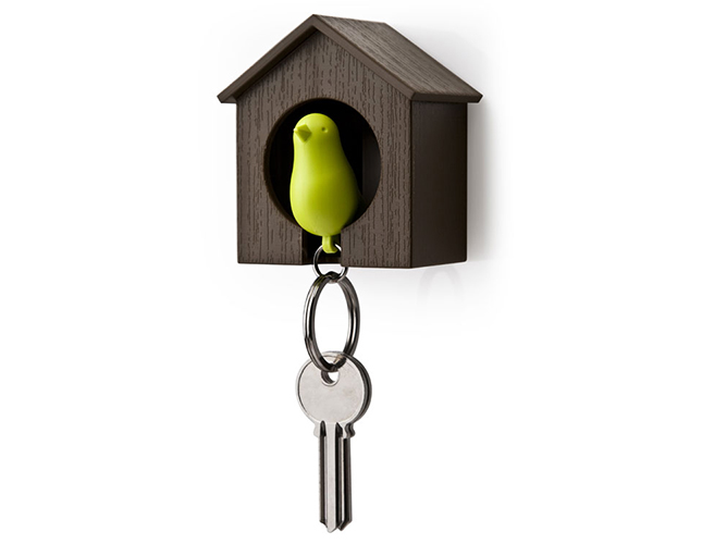 Sparrow Birdhouse Single Keychain