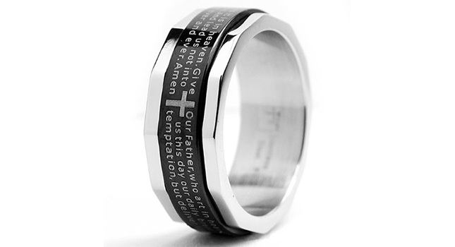 Stainless Steel Ring with Lords Prayer and Cross Design
