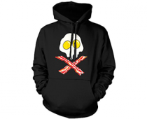 Eggs and Bacon Skull and Crossbones Hoodie