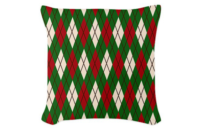 Christmas Argyle Woven Throw Pillow