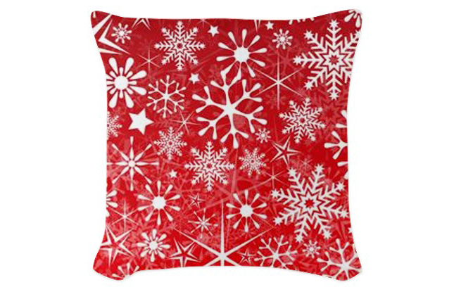 Christmas Snowflakes Textured Woven Throw Pillow