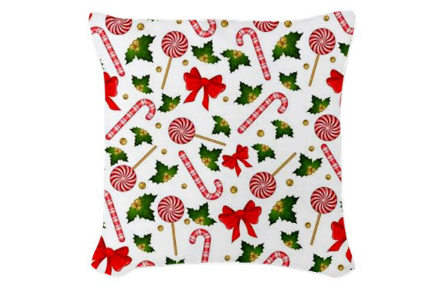 Christmas Candy Cane Decorated Woven Throw Pillow