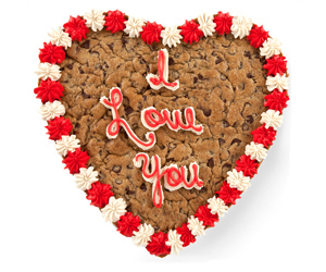 valentine s day heart shaped i love you huge cookie cake