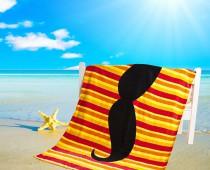Geeky Mustache Beach Towel