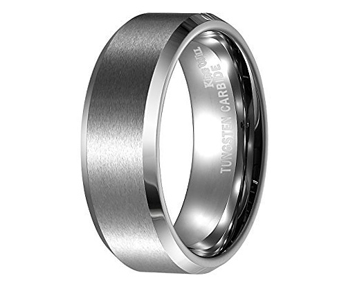 Matte finished tungsten men's ring