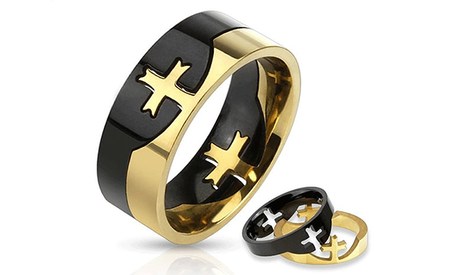 Stainless Steel 2 Crosses Puzzle Ring
