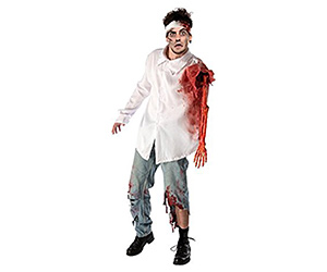 Men's Zombie Halloween Costume With Skeleton Arm